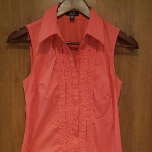 Coral button down blouse